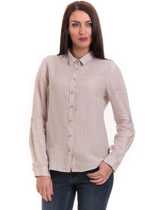 Ленена дамска риза XINT 456 - светло бежова