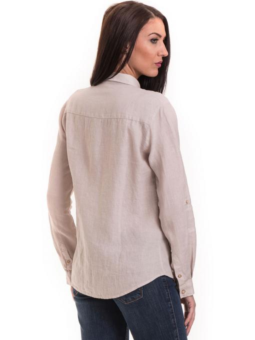 Ленена дамска риза XINT 456- светло бежова B