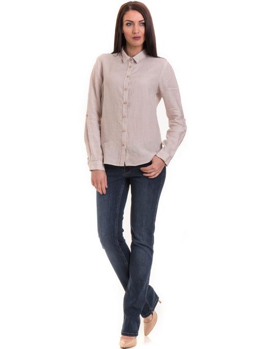 Ленена дамска риза XINT 456 - светло бежова C