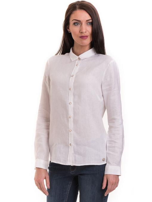 Ленена дамска риза XINT 456 - бяла