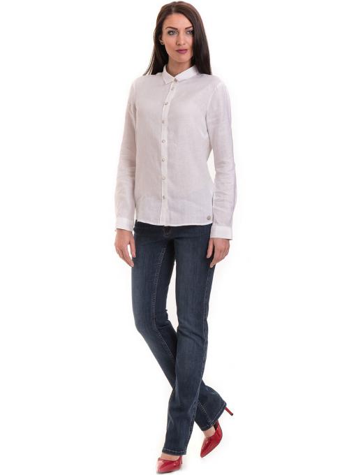 Ленена дамска риза XINT 456 - бяла C