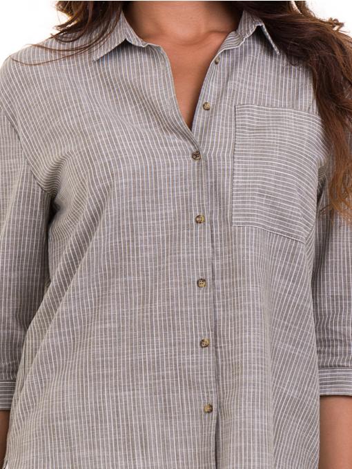 Дамска риза  XINT с 7/8 ръкав 474 - цвят каки D