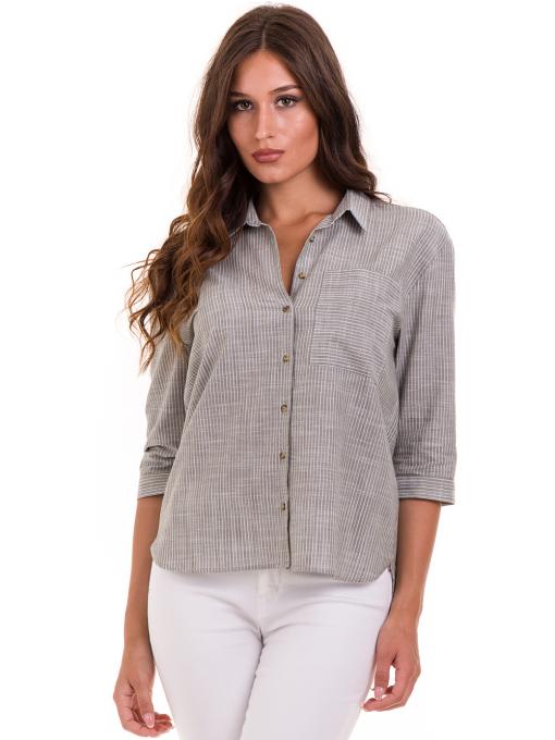 Дамска риза  XINT с 7/8 ръкав 474 - цвят каки