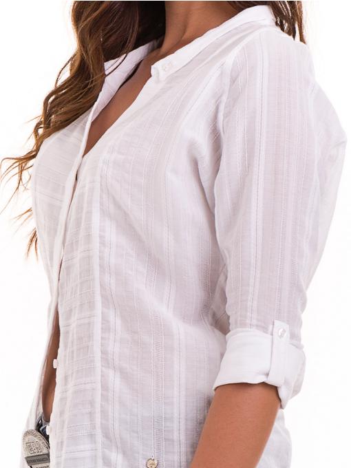 Дамска памучна риза XINT 475 - бяла D