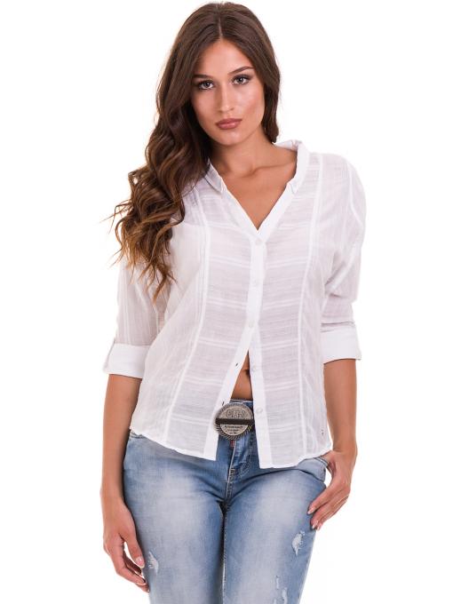 Дамска памучна риза XINT 475 - бяла