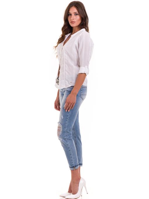 Дамска памучна риза XINT 475 - бяла C