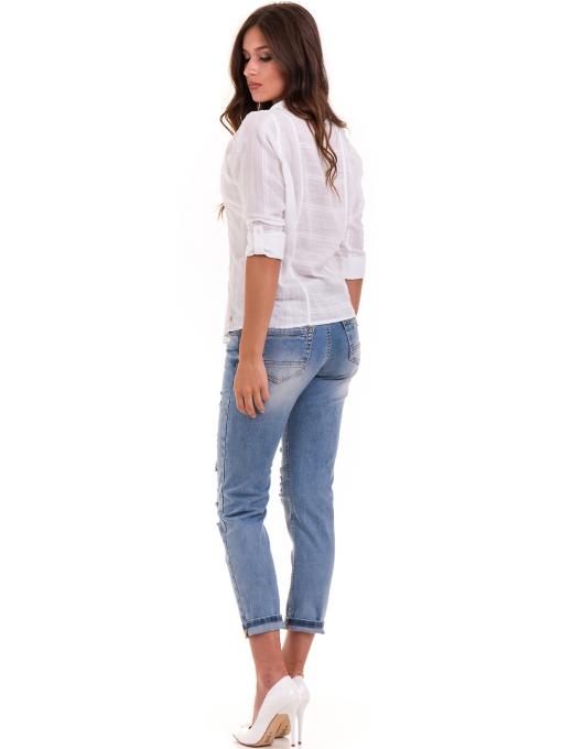 Дамска памучна риза XINT 475 - бяла E
