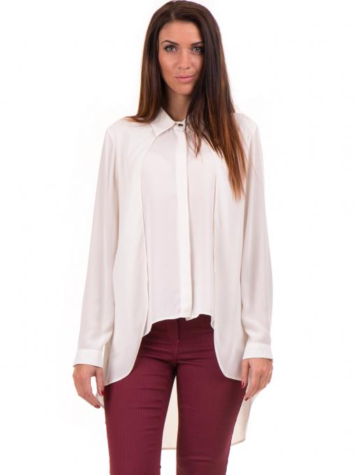 Дамска риза ZANZI с по-дълга задна част 16223 - екрю