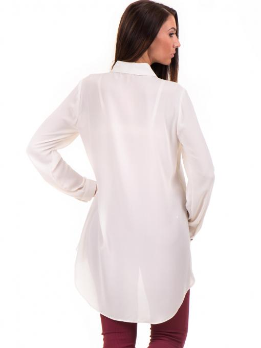 Дамска риза ZANZI с по-дълга задна част 16223 - екрю B