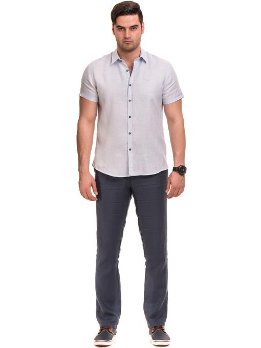Ленена мъжка риза XINT 477 - светло синя C