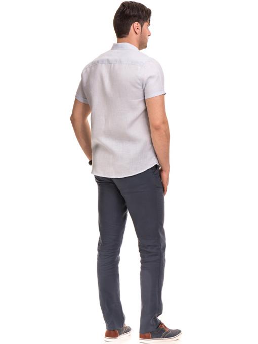 Ленена мъжка риза XINT 477 - светло синя E