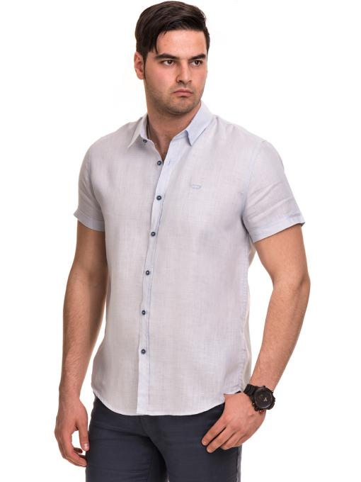 Ленена мъжка риза XINT 477 - светло синя