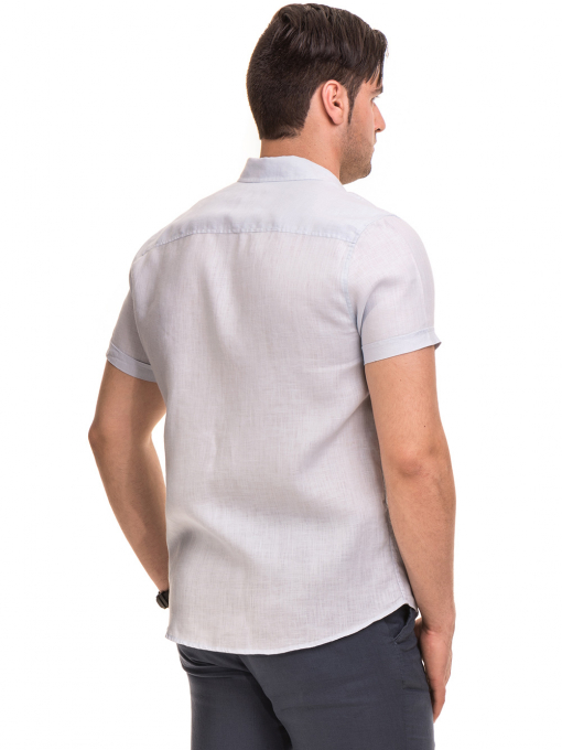 Ленена мъжка риза XINT 477 - светло синя B
