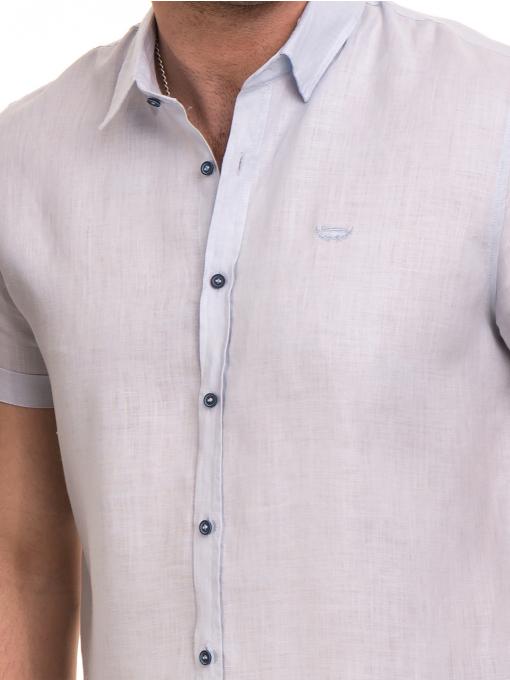 Ленена мъжка риза XINT 477 - светло синя D