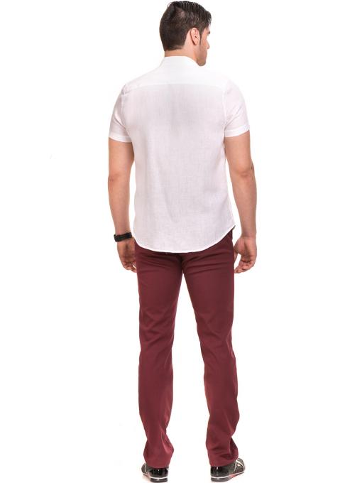 Ленена мъжка риза XINT 477 - бяла E