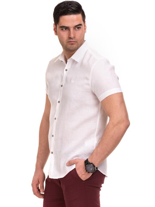 Ленена мъжка риза XINT 477 - бяла