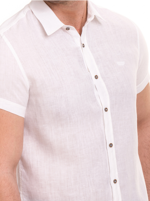 Ленена мъжка риза XINT 477 - бяла D
