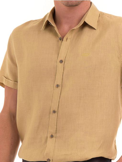Ленена мъжка риза XINT 477 - тютюнево зелена D