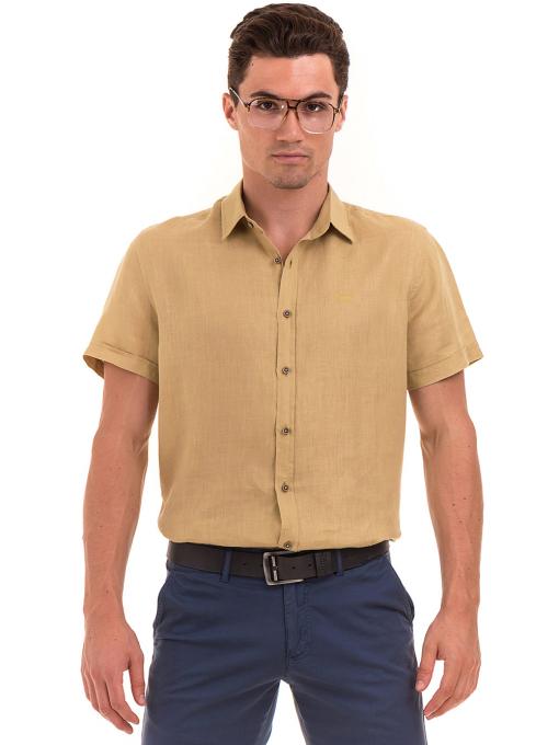 Ленена мъжка риза XINT 477 - тютюнево зелена
