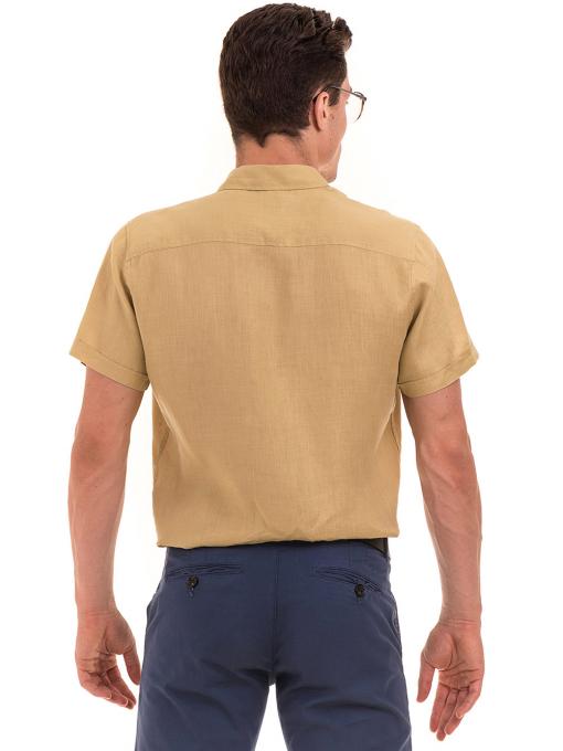 Ленена мъжка риза XINT 477 - тютюнево зелена B
