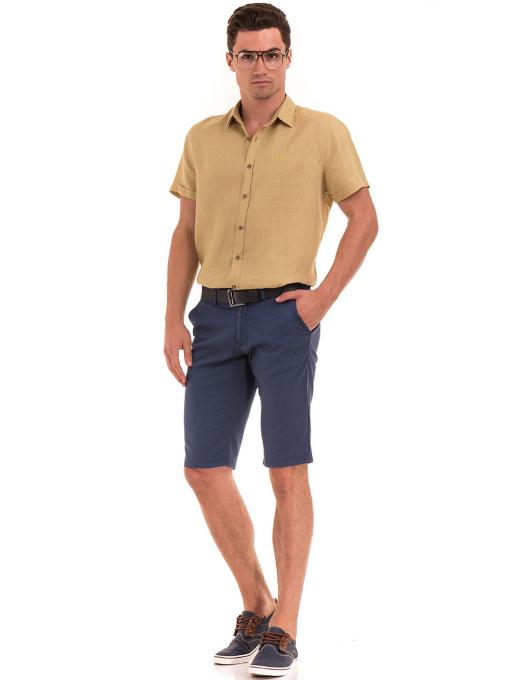 Ленена мъжка риза XINT 477 - тютюнево зелена C