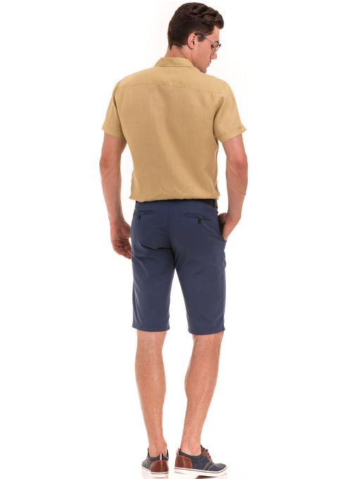 Ленена мъжка риза XINT 477 - тютюнево зелена E