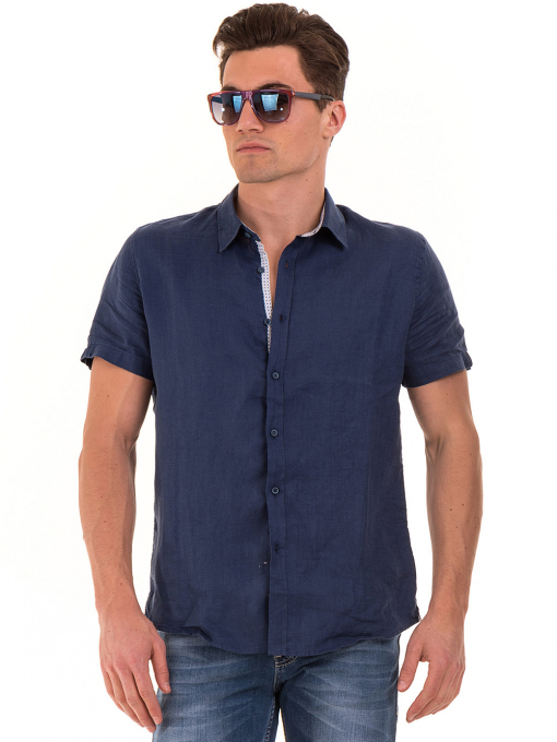 Мъжка ленена риза XINT 512 - тъмно синя