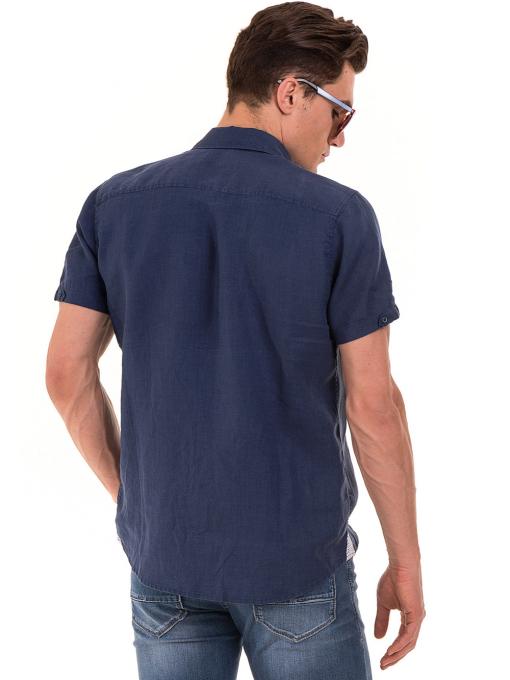 Мъжка ленена риза XINT 512 - тъмно синя B
