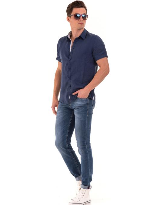 Мъжка ленена риза XINT 512 - тъмно синя C