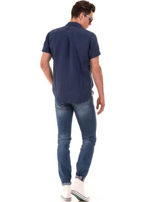 Мъжка ленена риза XINT 512 - тъмно синя E