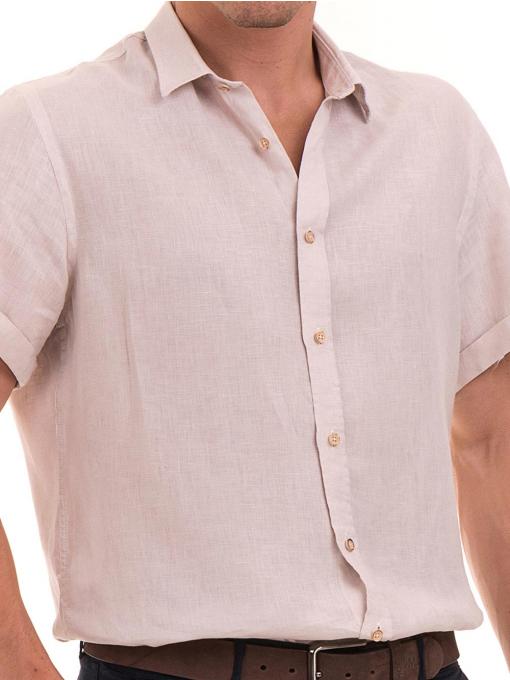 Мъжка ленена риза XINT 555- светло бежова D