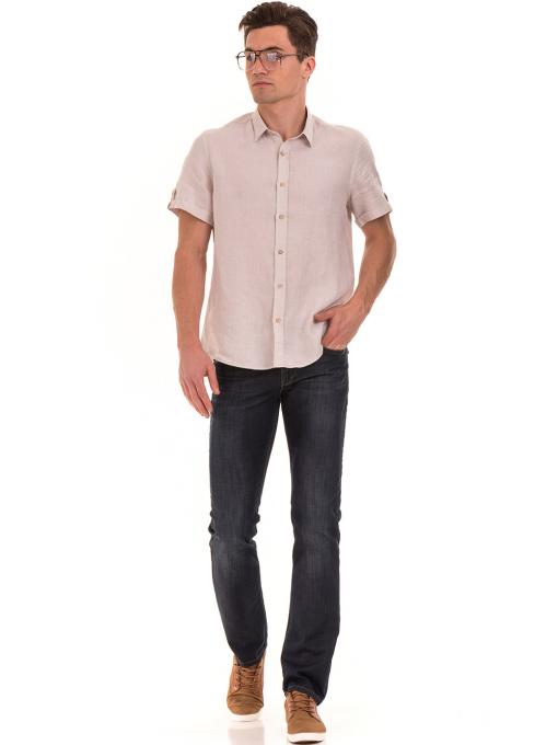 Мъжка ленена риза XINT 555- светло бежова C1