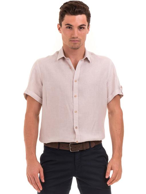 Мъжка ленена риза XINT 555- светло бежова