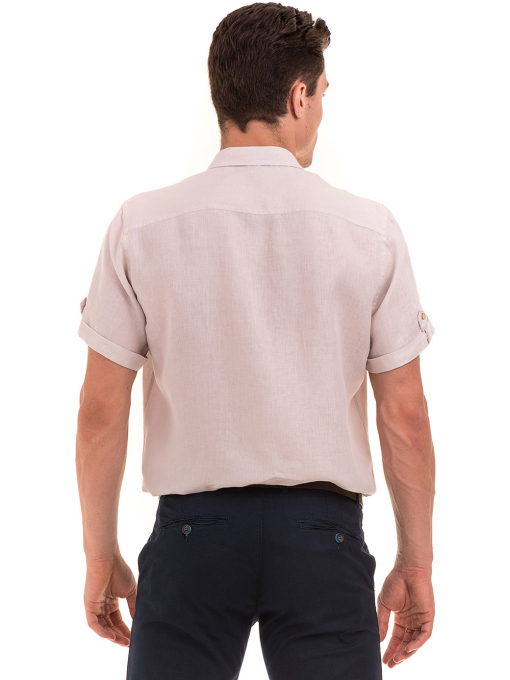 Мъжка ленена риза XINT 555- светло бежова B