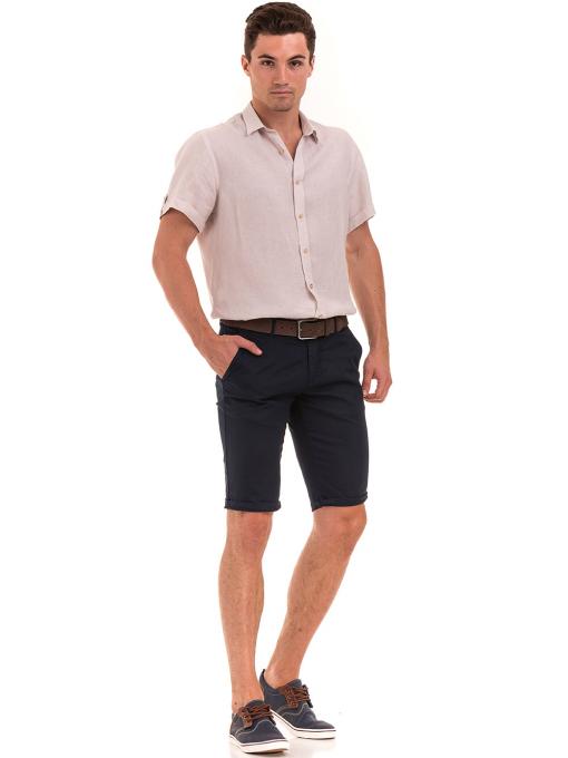Мъжка ленена риза XINT 555- светло бежова C