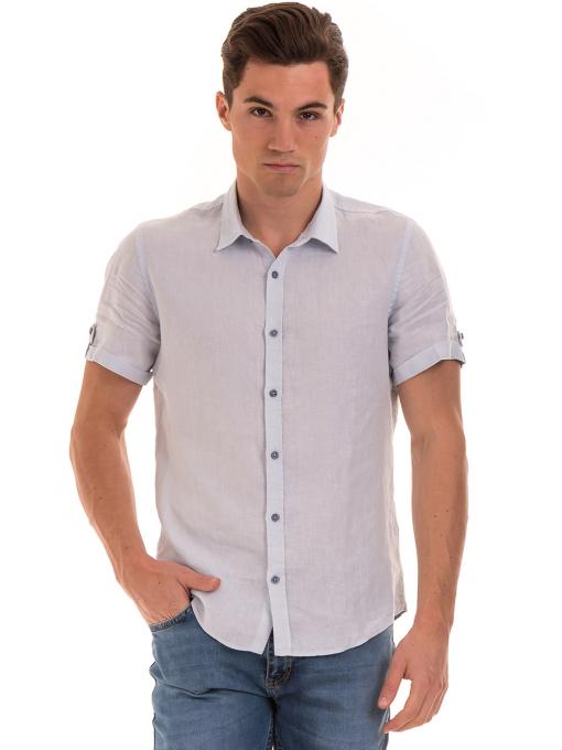 Мъжка ленена риза XINT 555 - светло синя