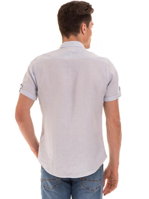 Мъжка ленена риза XINT 555 - светло синя B