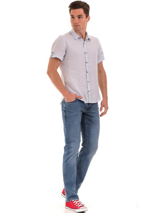Мъжка ленена риза XINT 555 - светло синя C