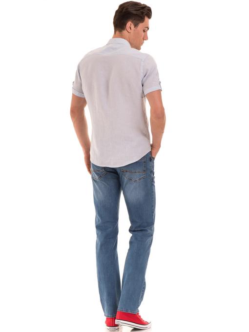 Мъжка ленена риза XINT 555 - светло синя E