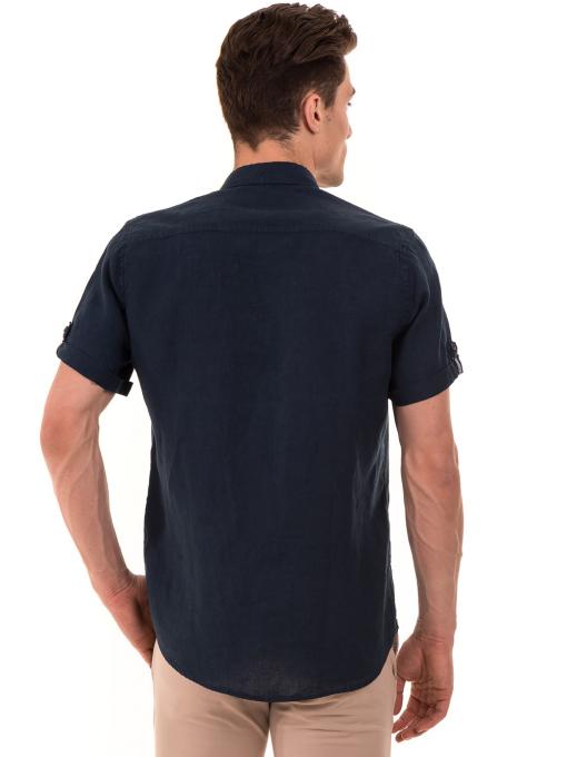 Мъжка ленена риза XINT 555 - тъмно синя B