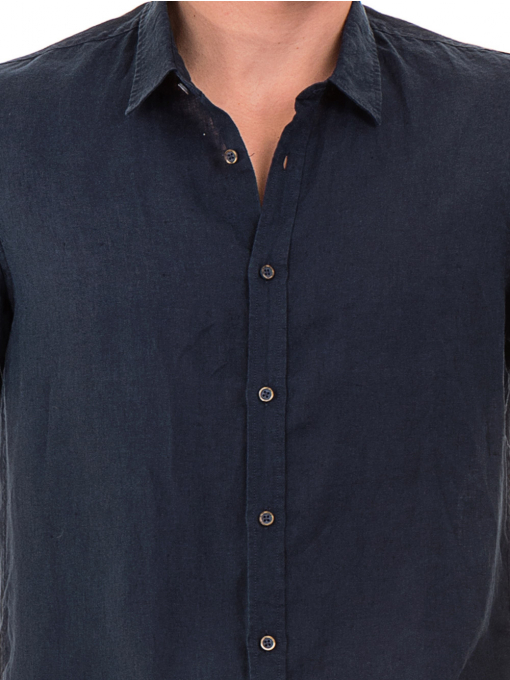 Мъжка ленена риза XINT 555 - тъмно синя D