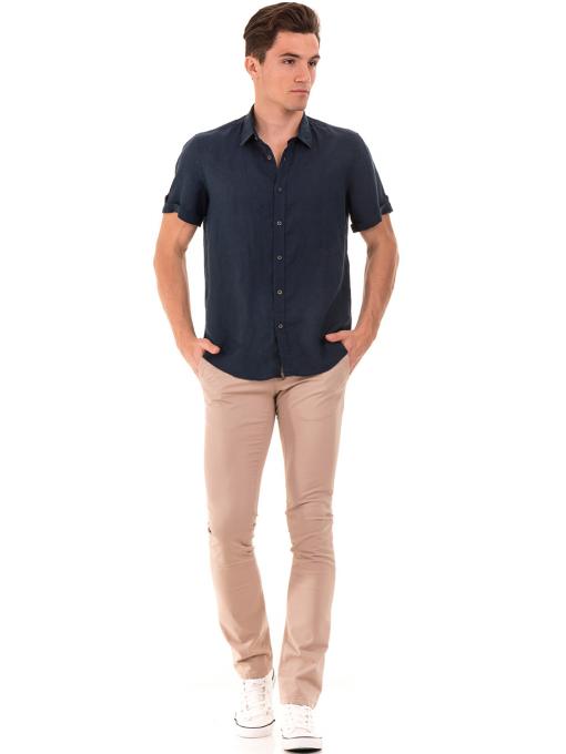 Мъжка ленена риза XINT 555 - тъмно синя C