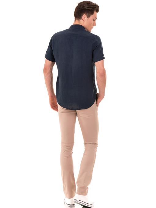 Мъжка ленена риза XINT 555 - тъмно синя E