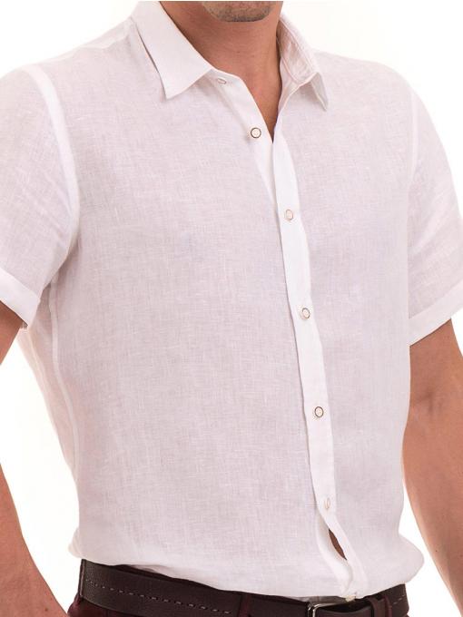 Мъжка ленена риза XINT 555 - бяла D