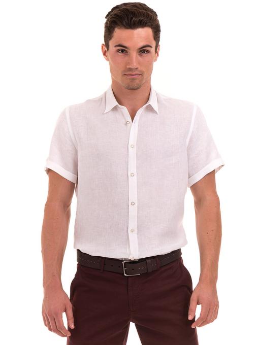 Мъжка ленена риза XINT 555 - бяла