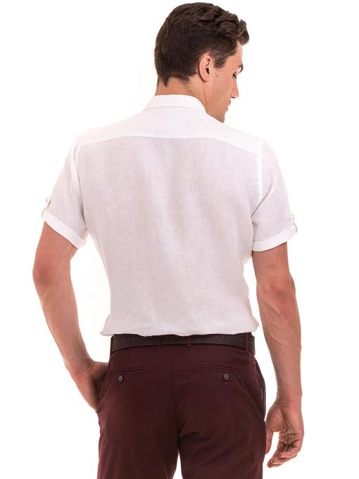 Мъжка ленена риза XINT 555 - бяла B