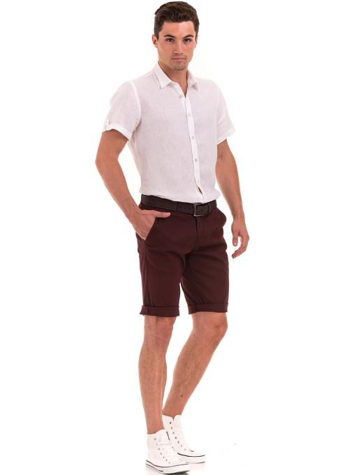 Мъжка ленена риза XINT 555 - бяла C