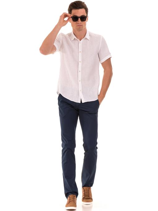 Мъжка ленена риза XINT 555 - бяла C1