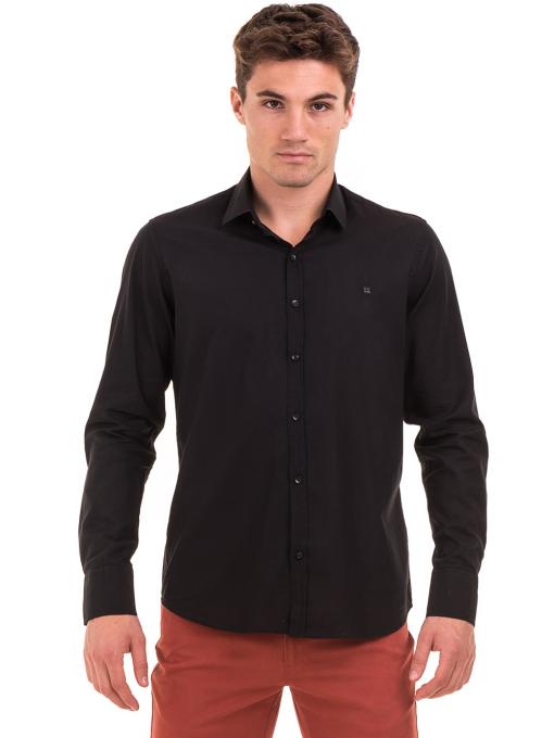 Класическа мъжка едноцветна риза AVVA 2106 - черна