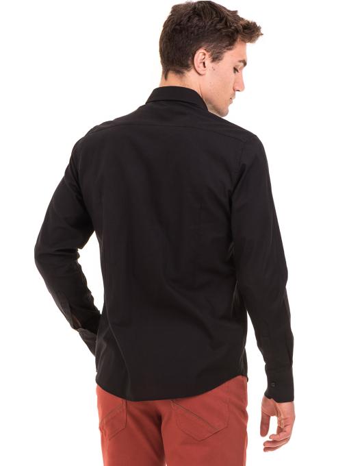Класическа мъжка едноцветна риза AVVA 2106 - черна B